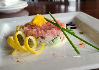 Ahi Tuna Tartare Honeydew and Cucumber Salad